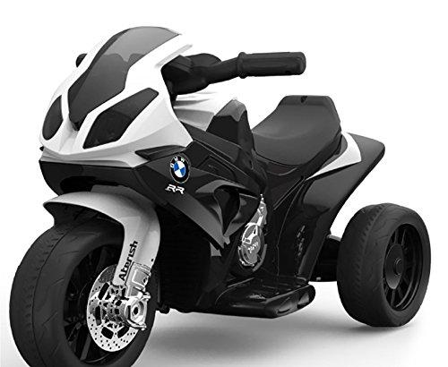 RIRICAR BMW S 1000 RR Triciclo eléctrico, motocicleta con batería, 3 ruedas, con licencia, 1x motor, batería de 6V, Negro