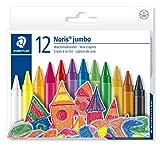 Staedtler Noris Jumbo 229, Craies à la cire pour dessin et coloriage, Étui carton avec 12 craies de couleur assorties, 229 NC12