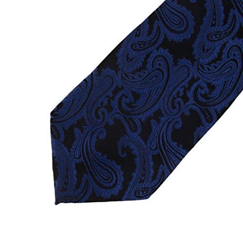 Cravate Boutons de Manchette Mouchoir Jacquard Ensemble pour Homme Bleu Foncé