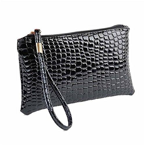 Chloe Leder Rot Handtasche (OSYARD Frauen Krokodil Leder Clutch Handtasche Tasche Lange Reißverschluss Geldbörse Mappen Handhandtasche Handytasche der Frauen)