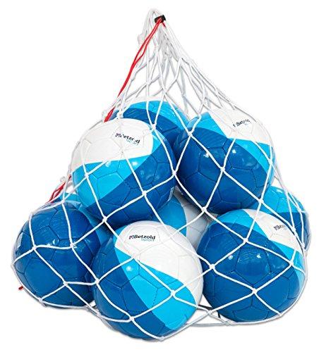 Betzold Sport Fußball Set, 10 Fußbälle, Größe 5, inkl. Ballnetz, von Hand genäht, Umfang 68 - 70 cm, Gewicht 410 - 450 g