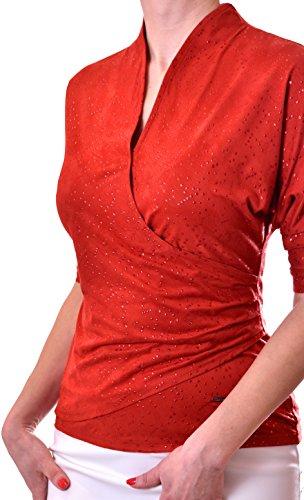 poshtops individuellen Style Two in One Look dehnbar Top Short Sleeve Rot - Korallenrot