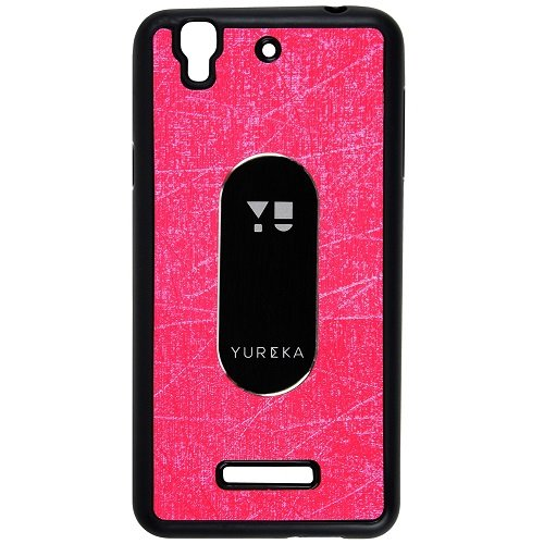 Casotec Metal Back TPU Back Case Cover for Micromax YU Yureka AQ5510 - Pink
