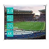 CCLIFE Beamer leinwand Format 1:1 Rollo für Heimkino Business Fußballstadion als Full-HD und 3D-Leinwand 203x203/ 178x178/ 152x152cm, Größe:203 x 203 cm