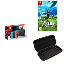 Nintendo Switch - Neon Red/Neon Blue with The Legend of Zelda: Breath of the Wild and the Venom Switch Screen Protector and Controller Case Starter Kit