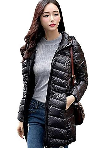 Lovache Lang Daunenjacke Damen Ultra Leicht Winter Mantel Mit Kapuze Parka Jacke, XL, schwarz