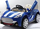 NEW DESIGN MASERATI STYLE BLUE 12V TWIN MOTORS KIDS RIDE ON CAR WITH 4 WYAS PARENTAL REMOTE CONTROL + openable doors + mp3 input (MASERATI-BLUE/12V)