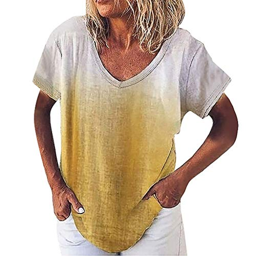 TEFIIR T-Shirt für Damen, Damen-Oberteile,Mitgliedertag Sommer-Räumungsabwicklung,günstige Preisaktion Loose Large Size Fashion Binden Färben Lässige V-Neck Gradient Top -