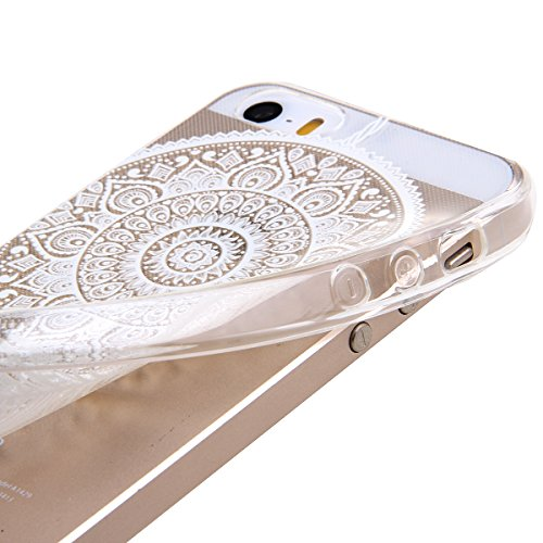 Kakashop iPhone 5C Silicone Etui Case Cover Transparent Crystal Clair Doux TPU, Rétro Fleur Peinture de Style Soft Gel Retour Housse Coque pour iPhone 5C(tournesol 2) cloche vent