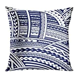 Cupsbags Throw Pillow Cover Blue Polynesian Maori Style Tribal Design Tattoo Aboriginal Decorative Pillow Case Home Decor Square 18x18 Inches Pillowcase