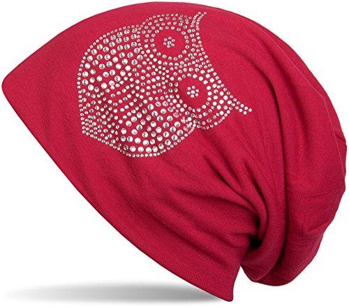 styleBREAKER klassische Beanie Mütze mit Strass Eulen Applikation, Damen 04024039, Farbe:Rot (Animal Beanie-mütze)