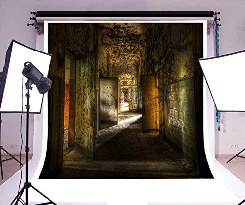 aaloolaa 2,5x 2,5m Fotografie Hintergrund Foto Hintergrund Scary Flur Shabby Wand Holz Tür unscharf Boden Abandoned Building Junge Erwachsene Mädchen Hochformat Decadent Szene Requisiten Video Shooting Studio