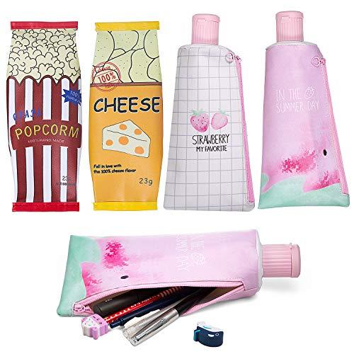 MOOKLIN Federmäppchen in Muster-Design mit Reißverschluss, PU Federtasche, 4 Stück Stiftemappe Stiftemäppchen Griffelmappe für Mädchen Teenager, Kosmetika oder Schreibwaren (4 Stile)