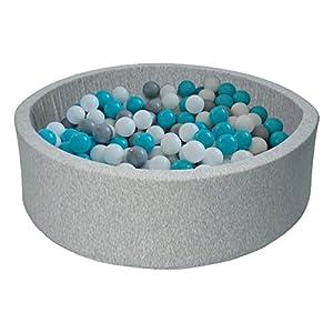 piscina gioco bambino palle palline 150 piscina secca (Colori delle palline: bianco, grigio, turchese)