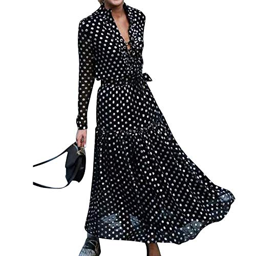 65e181c4c03333 Women Long Sleeve Maxi Dress V-Neck Polka Dot Print Boho Dresses Casual  Evening Party