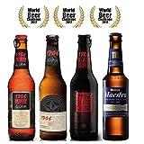 Pack Cervezas Degustación World Beer Challenge 4 cervezas. Mahou Maestra 33 cl, Estrella Galicia 1906 Reserva Especial 33cl, Estrella Galicia 1906 Red Vintage 33cl, Estrella Galicia Black Coupage 33cl, con hoja de cata y clasificación.