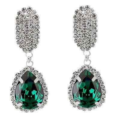 Lusso diamante brillare strass smeraldo verde regalo di Natale goccia orecchini E865