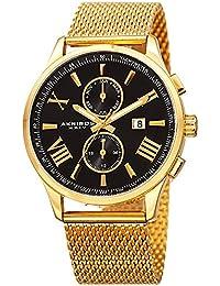 Akribos XXIV Reloj de hombre de cuarzo con Negro esfera analógica pantalla y oro pulsera de acero inoxidable ak905ygb
