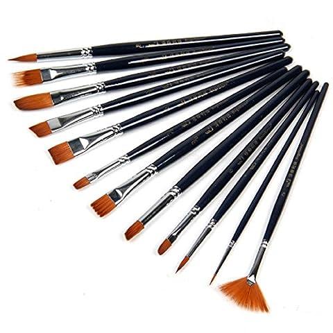 Malloom 12pcs peinture cheveux de nylon Brosse Set aquarelle artiste fournitures de peinture à l'huile acrylique
