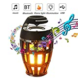 ZRR LED Flamme Lampe, USB wiederaufladbares Bluetooth 4.2 Drahtloses tragbares HD-Audio im Freien, IP65 wasserdichter Lautsprecher 96 LED Flammeneffektlampe mit überlegenem Bass und Sound