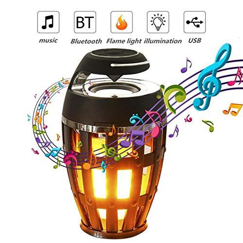 ZRR LED Flamme Lampe, USB wiederaufladbares Bluetooth 4.2 Drahtloses tragbares HD-Audio im Freien, IP65 wasserdichter Lautsprecher 96 LED Flammeneffektlampe mit überlegenem Bass und Sound -