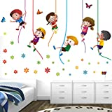 StickMe PVC Vinyl Paper 'Kids Playing Climbing Up The Rope Wall Sticker ' (100X65 cm, Multicolour)