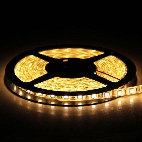 5M Bandes LED Flexibles 12V, Ruban LED, 3000K Blanc Chaud, 300 unités 5050 SMD LEDs, Imperméable IP65, décoration luminaire d'intérieur, moderne pour la fête Noël/ Sapin [Classe énergétique A+]