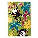 Kinderteppich Spielteppich Flachflor Kurzflor Tier-Design Affen Palmen Soft Grün Kinderzimmer Größe 80/150 cm