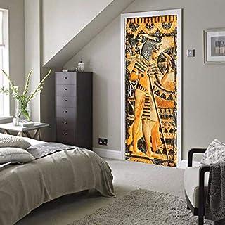 Zxdcd Door Sticker Waterproof Self-Adhesive Mural Wallpaper Egyptian Pharaoh Wall Painting Living Room Bedroom Door Stickers Decor 3D-91.4X213Cm