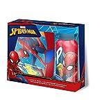 Theonoi 2 Teile Kinder Frühstück Set – wählbar: Cars – Paw Patrol – Spiderman – Avengers. 1 x Brotdose Sandwichbox UND 1 x Aluminiumflasche/Trinkflasche Aluminium für Jungen (Spiderman)
