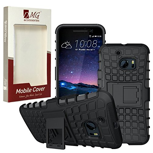 HTC One M10 Case, DMG Rugged Hybrid Back Cover Kickstand Armor Case for HTC One M10 (Black)