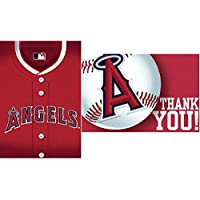 Amscan MLB Los Angeles Angels Postcard Invitation & Thank You Cards (16 Piece), Red/White, 7.6 x 5 by Amscan