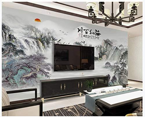 Apoart 3D Wandtapete Chinesische Malerei-Landschaft Fernsehhintergrund-Wand Haina Baichuan 200Cmx140Cm