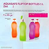 Tupperware Aquasafe Flip Top Bottle 1 L Each, Multicolor Set Of 4 by Tupperware