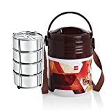 Cello Stainless Steel Lunch Box Set, 355ml, Set of 4, Brown