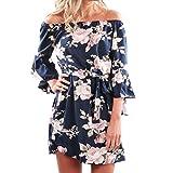 Kleid Internet Damen Ab Schulter Floral Print kurzes Minikleid (M, blau)