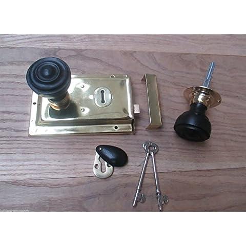 Ironmongery World® Classico Antico in ottone Rim Serratura Pomello con