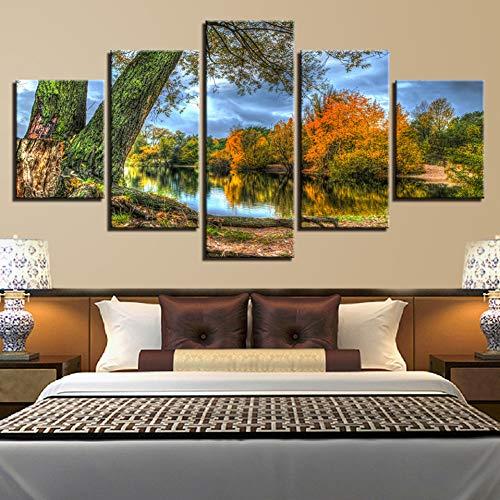 POLLKK 5 Paneles HD Impresiones Decoración Moderna Sala De Estar Árboles Lago...