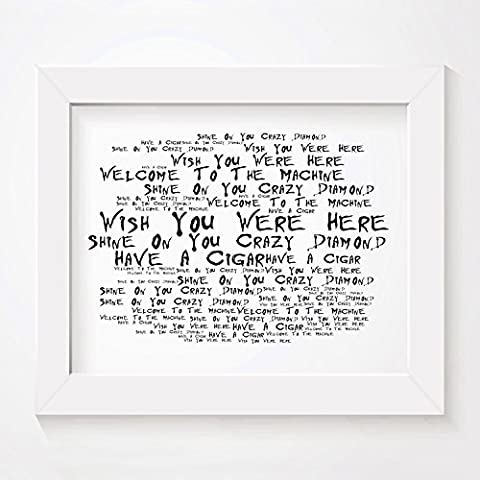 `Noir Paranoiac` Art Print - PINK FLOYD - Wish You Were Here - Signed & Numbered Limited Edition Typography Unframed 25 x 20 cm (10 x 8 inch) Album Wall Art Print - Song Lyrics Mini Poster