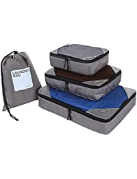 Uberlyfe Introductory Price - Travel Packing Cubes Organizer With Laundry Bag (Set Of 4)- Grey