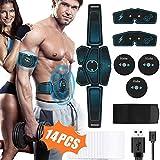 Hieha Electrostimulateur Musculaire, EMS 6 Ceinture Abdominale Electrostimulation Cuisse/Bras Muscle Forme d'exercice Fitness, USB Charge et 14 Coussinets de Gel - 8 Modes & 10 Niveaux