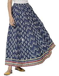 Srishti by FBB Chevron Skirt with Side Tie-Up Indigo