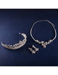 XNHG Novia cinturón Moda Rhinestones Corona collar de tres traje Corona nupcial Corona de boda cents hechos a mano decorado Tiara de Piedras Strass