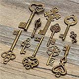 Yongse Antiguo aspecto antiguo 11pcs de la vendimia de la llave maestra Conjunto colgante del arco del corazón de Steampunk Lock