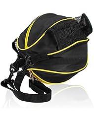 SUPER-BAB - Bolsa deportiva de entrenamiento con correa para el hombro para guardar el balón de fútbol, nailon, ideal para los accesorios de fútbol, voleibol o baloncesto, negro