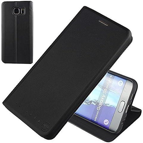 Nouske Samsung Galaxy S6 Edge Plus Funda protectora de tipo Cartera para teléfonos móviles/TPU protección frente a golpes/Estuche para tarjetas de crédito/Soporte/Conciso y Ultra delgado/Hebilla magnética,Negro