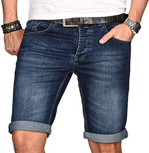 A. Salvarini Herren Designer Jeans Short Kurze Hose Slim Sommer Shorts Bermuda [AS-108-W34]