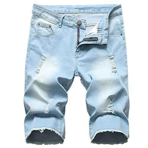 Schwarz - Man Pieces Lässige Baumwolldenim-Mode Sommer Kurze Jeans Freizeithosen Hip Hop Jeans Style Hipster Slim Fit Multi Pockets Arbeitsshorts Für ()