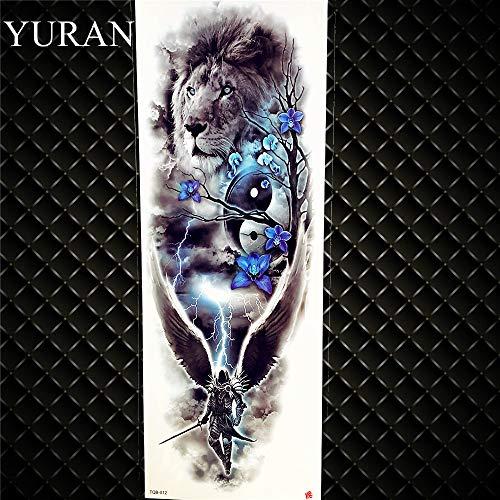 leber Flash Gefälschte Full Arm Soldat Tattoos Wasserdicht Lion Knight Angel Für Wobody Leg Art Tattoos Aufkleber Gtqb012 ()