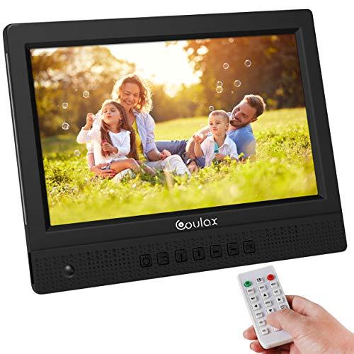 COULAX 10 Zoll Digitaler Bilderrahmen 1280x800 Full IPS Display Elektronischer Fotorahmen Video Musik Foto Player mit Uhr/Kalender-Funktion Unterstützt USB und SD Karte mit Fernbedienung